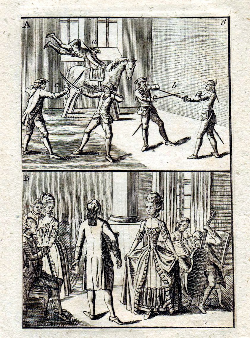Photo Fencing and dancing, ca 1750 Found and published o