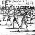 Die Fechtschul. Tournament fighting between the Freyfechtere and the Marxbrüdere. 1726AD.