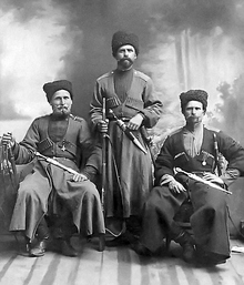 Cossacks with traditional garb and weaponry